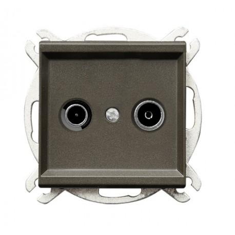 SONATA Gniazdo RTV, przelotowe, ZAP-10, bez ramki, kolor czekoladowy metalik GPA-10RP/m/40