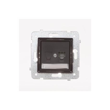 ROSA Gniazdo telefoniczne RJ11 pojedyncze bez ramki, kolor czekoladowy mat GPT-1Q/M.CK