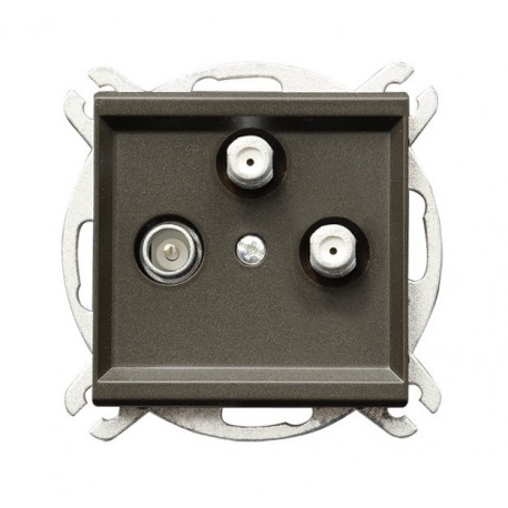 SONATA Gniazdo RTV-SAT, z dwoma wyjściami SAT, bez ramki, kolor czekoladowy metalik GPA-R2S/m/40