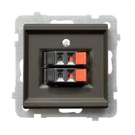 SONATA Gniazdo głośnikowe, podwójne, bez ramki, kolor czekoladowy metalik GG-2R/m/40