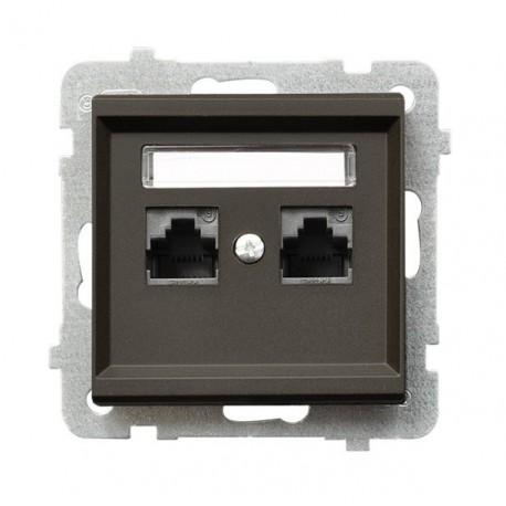 SONATA Gniazdo komputerowe, podwójne, kat. 5e, MMC, bez ramki, kolor czekoladowy metalik GPK-2R/K/m/40
