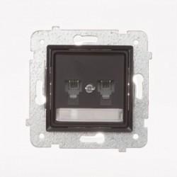 ROSA Gniazdo telefoniczne RJ11 podwójne niezależne bez ramki, kolor czekoladowy mat GPT-2QN/M.CK