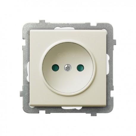 SONATA Gniazdo pojedyncze, z przesłonami torów prądowych, bez ramki, kolor ecru GP-1RP/m/27