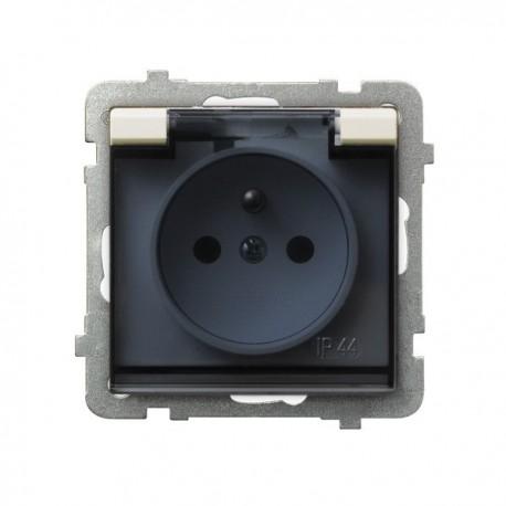 SONATA Gniazdo pojedyncze z uziemieniem, IP-44, wieczko przezroczyste, bez ramki, kolor ecru GPH-1RZ/m/27/d