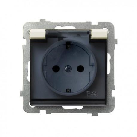 SONATA Gniazdo pojedyncze z uziemieniem schuko, IP-44, wieczko przezroczyste, bez ramki, kolor ecru GPH-1RS/m/27/d