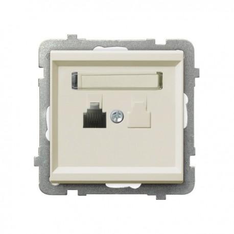 SONATA Gniazdo telefoniczne, pojedyncze, bez ramki, kolor ecru GPT-1R/m/27