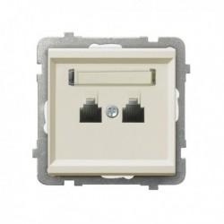 SONATA Gniazdo telefoniczne, podwójne, równoległe, bez ramki, kolor ecru GPT-2RR/m/27