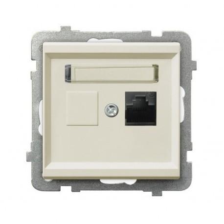 SONATA Gniazdo komputerowe, pojedyncze, kat. 5e,MMC, bez ramki, kolor ecru GPK-1R/K/m/27