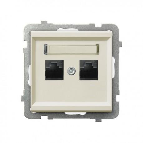 SONATA Gniazdo komputerowe, podwójne, kat. 5e, MMC, bez ramki, kolor ecru GPK-2R/K/m/27