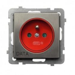 SONATA Gniazdo pojedyncze z uziemieniem DATA, z przesłonami torów prądowych, bez ramki, stal INOX GP-1RMZDP/m/37