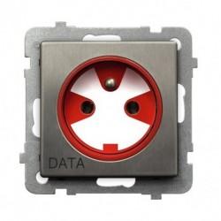 SONATA Gniazdo pojedyncze z uziemieniem DATA, z kluczem uprawniającym, bez ramki, stal INOX GP-1RMZK/m/37