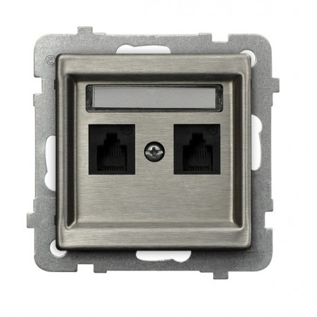 SONATA Gniazdo telefoniczne, podwójne, niezależne, bez ramki, stal INOX GPT-2RMN/m/37