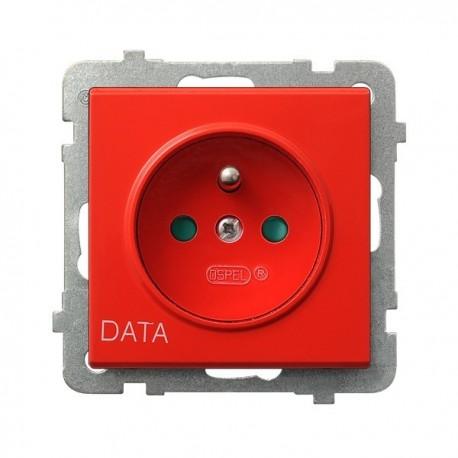 SONATA Gniazdo pojedyncze z uziemieniem DATA, z przesłonami torów prądowych, bez ramki, czerwony GP-1RZDP/m