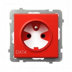 SONATA Gniazdo pojedyncze z uziemieniem DATA, z kluczem uprawniającym, bez ramki, czerwony GP-1RZK/m