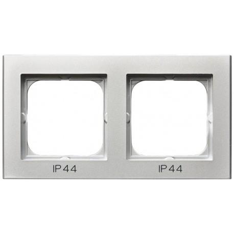 SONATA Ramka podwójna do łączników IP44, srebro mat RH-2R/38