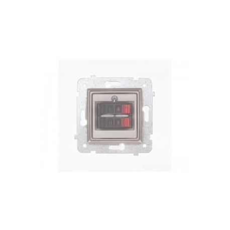 ROSA Gniazdo głośnikowe podwójne bez ramki, kolor srebrny metalik GG-2Q/M.SR