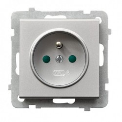 SONATA Gniazdo pojedyncze z uziemieniem, z przesłonami torów prądowych, bez ramki, kolor srebro mat GP-1RZP/m/38
