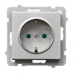 SONATA Gniazdo pojedyncze z uziemieniem schuko, z przesłonami torów prądowych, bez ramki, kolor srebro mat GP-1RSP/m/38
