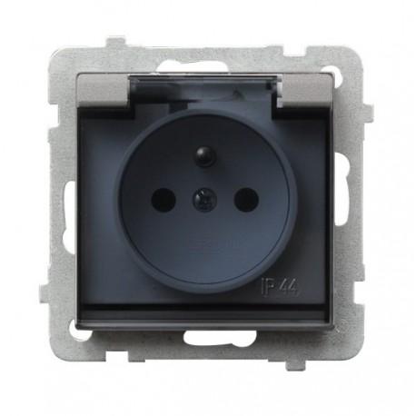 SONATA Gniazdo pojedyncze z uziemieniem, IP-44, wieczko przezroczyste, bez ramki, kolor srebro mat GPH-1RZ/m/38/d