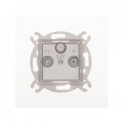 ROSA Gniazdo antenowe R-TV-SAT końcowe bez ramki, kolor srebrny metalik GPA-QS/M.SR