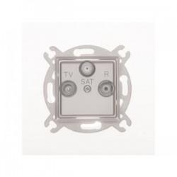 ROSA Gniazdo antenowe R-TV-SAT przelotowe bez ramki, kolor srebrny metalik GPA-QSP/M.SR