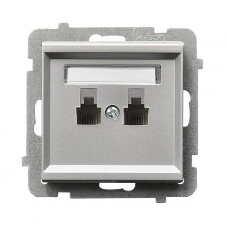 SONATA Gniazdo telefoniczne, podwójne, równoległe, bez ramki, kolor srebro mat GPT-2RR/m/38