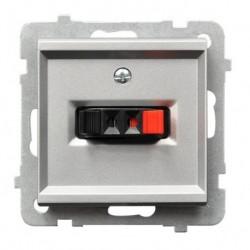 SONATA Gniazdo głośnikowe, pojedyncze, bez ramki, kolor srebro mat GG-1R/m/38
