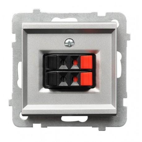 SONATA Gniazdo głośnikowe, podwójne, bez ramki, kolor srebro mat GG-2R/m/38