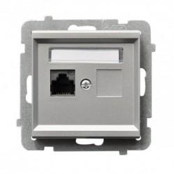 SONATA Gniazdo komputerowe, pojedyncze, kat. 5e, MMC, bez ramki, kolor srebro mat GPK-1R/K/m/38