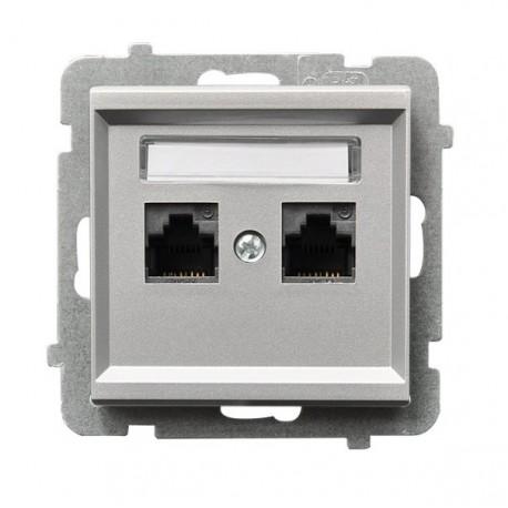 SONATA Gniazdo komputerowe, podwójne, kat. 5e, MMC, bez ramki, kolor srebro mat GPK-2R/K/m/38