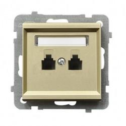 SONATA Gniazdo telefoniczne, podwójne, równoległe, bez ramki, kolor szampański złoty GPT-2RR/m/39