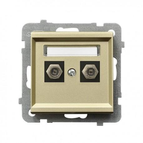 SONATA Gniazdo antenowe, podwójne, typu F, bez ramki, kolor szampański złoty GPA-2R/m/39