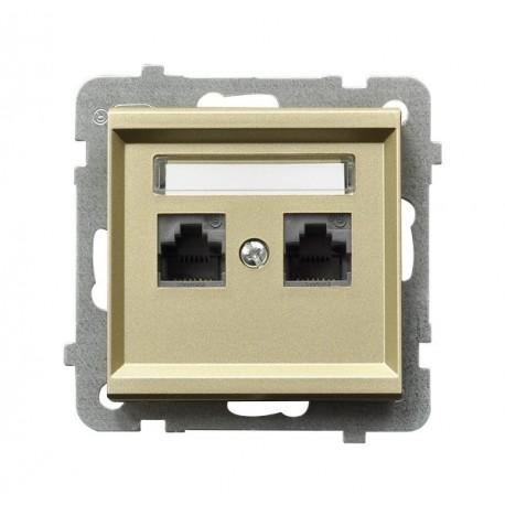 SONATA Gniazdo komputerowe, podwójne, kat. 5e, MMC, bez ramki, kolor szampański złoty GPK-2R/K/m/39