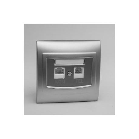 VEGA Gniazdo komputerowo RJ45 - telefoniczne RJ11 kolor srebro GPKT-1V/F.SR
