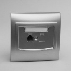 VEGA Gniazdo telefoniczne RJ11 pojedyncze kolor srebro GPT-1V.SR