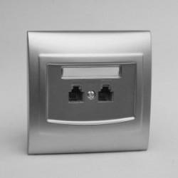 VEGA Gniazdo telefoniczne RJ11 podwójne niezależne kolor srebro GPT-2VN.SR