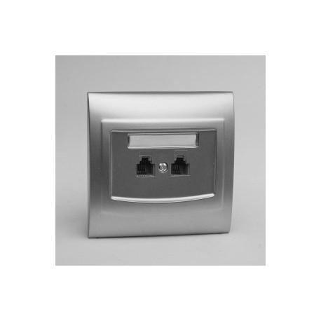 VEGA Gniazdo telefoniczne RJ11 podwójne równoległe kolor srebro GPT-2VR.SR