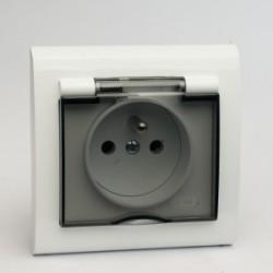 AURA Gniazdo bryzgoszczelne z uziemieniem IP44 kolor biały (GPH-1UZ.BI) (dostępne tylko w ramce pojedynczej)