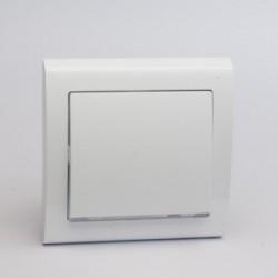 AURA Łącznik pojedynczy (jednobiegunowy) z podświetleniem kolor biały (ŁP-1US.BI)