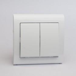 AURA Łącznik podwójny (świecznikowy) z podświetleniem kolor biały (ŁP-2US.BI)