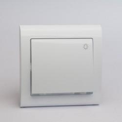 AURA Przycisk światło z podświetleniem kolor biały (ŁP-5US.BI)