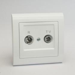 AURA Gniazdo antenowe R-TV przelotowe kolor biały (GPA-10UP.BI)