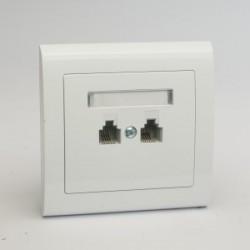AURA Gniazdo telefoniczne RJ11 podwójne równoległe kolor biały (GPT-2UR.BI)