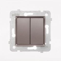 ROSA Przycisk podwójny bez ramki, kolor tytanowy metalik ŁP-17Q/M.TY
