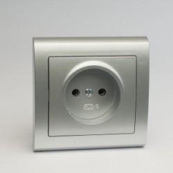 AURA Gniazdo pojedyncze bez uziemienia kolor srebro (GP-1U.SR)