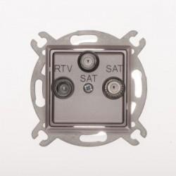 ROSA Gniazdo antenowe RTV-SAT-SAT końcowe bez ramki, kolor tytanowy metalik GPA-Q2S/M.TY