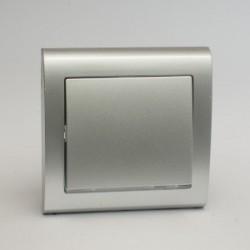 AURA Łącznik pojedynczy (jednobiegunowy) z podświetleniem kolor srebro (ŁP-1US.SR)