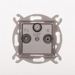 ROSA Gniazdo antenowe R-TV-SAT przelotowe bez ramki, kolor tytanowy metalik GPA-QSP/M.TY