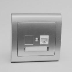 AURA Gniazdo komputerowe RJ45 pojedyncze kat. 5e kolor srebro (GPK-1U/F.SR)