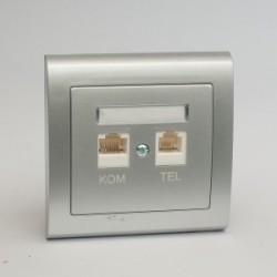 AURA Gniazdo komputerowo RJ45 -telefoniczne RJ11 kolor srebro (GPKT-1U/F.SR)
